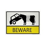 Beware Cow Sign Rectangle Magnet