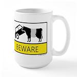 Beware Cow Sign Large Mug