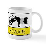 Beware Cow Sign Mug