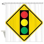 Signal Ahead Caution Sign Shower Curtain