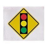 Signal Ahead Caution Sign Throw Blanket