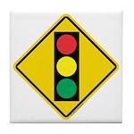 Signal Ahead Caution Sign Tile Coaster