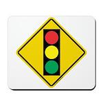 Signal Ahead Caution Sign Mousepad
