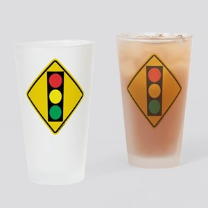 Signal Ahead Caution Sign Drinking Glass