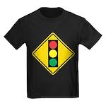 Signal Ahead Caution Sign Kids Dark T-Shirt