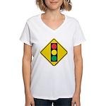 Signal Ahead Caution Sign Women's V-Neck T-Shirt