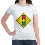 Signal Ahead Caution Sign Jr. Ringer T-Shirt