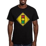 Signal Ahead Caution Sign Men's Fitted T-Shirt (da