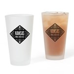 Kansas Girls Kick Ass Drinking Glass