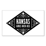 Kansas Girls Kick Ass Sticker (Rectangle)