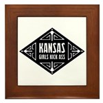 Kansas Girls Kick Ass Framed Tile