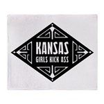Kansas Girls Kick Ass Throw Blanket