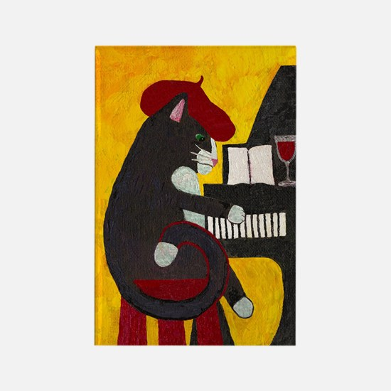 Tuxedo Cat and Piano Rectangle Magnet