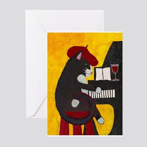 Tuxedo Cat and Piano Greeting Cards (Pk of 10)