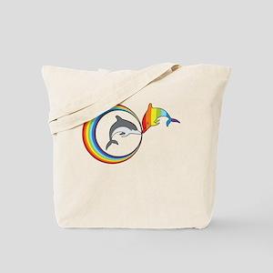 Rainbow Dolphin Tote Bag