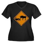 Moose Sign Newfoundland Women's Plus Size V-Neck D