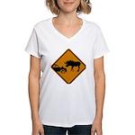 Moose Sign Newfoundland Women's V-Neck T-Shirt