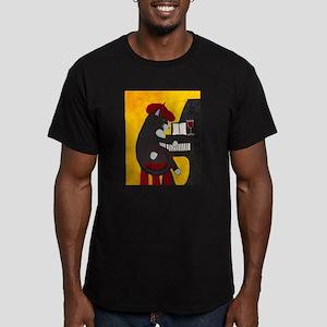 Tuxedo Cat and Piano Men's Fitted T-Shirt (dark)
