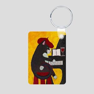 Tuxedo Cat and Piano Aluminum Photo Keychain