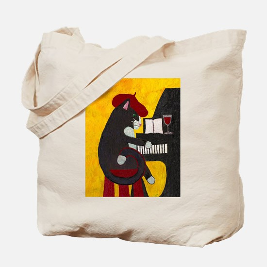 Tuxedo Cat and Piano Tote Bag