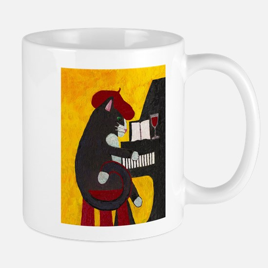 Tuxedo Cat and Piano Mug