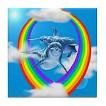 Rainbow Dolphin Tile Coaster