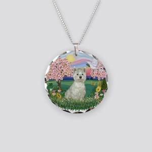 Blossoms-Westie#8 Necklace Circle Charm
