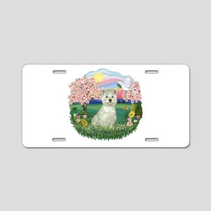 Blossoms-Westie#8 Aluminum License Plate