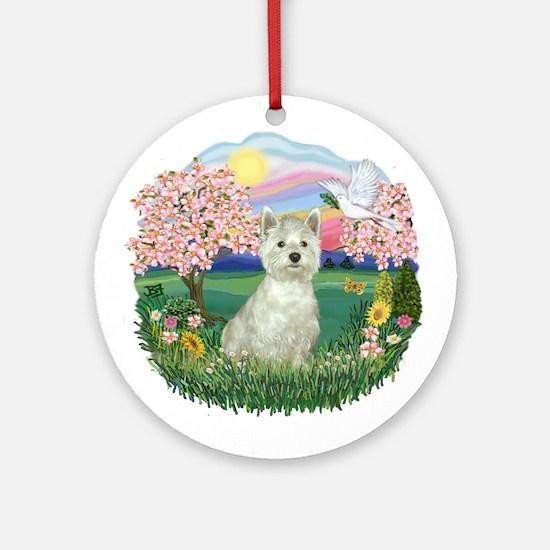 Blossoms-Westie#8 Ornament (Round)