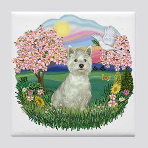 Blossoms-Westie#8 Tile Coaster