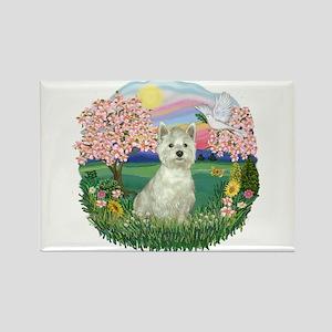 Blossoms-Westie#8 Rectangle Magnet