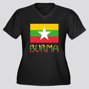 Burma Flag & Word Women's Plus Size V-Neck Dark T-
