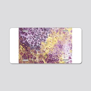Purple and Yellow Abstract Aluminum License Plate