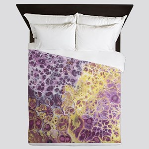 Purple and Yellow Abstract Queen Duvet