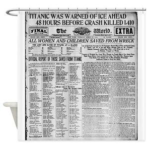Newspaper Headline Shower Curtains