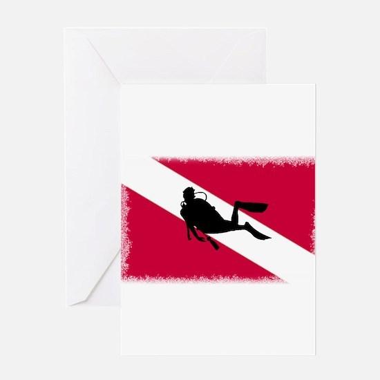 Scuba Diver & Flag Greeting Card