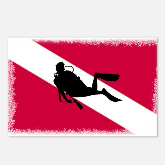 Scuba Diver & Flag Postcards (Package of 8)