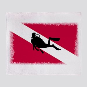 Scuba Diver & Flag Throw Blanket