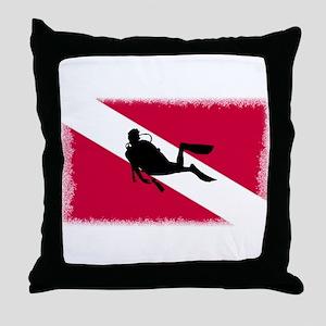 Scuba Diver & Flag Throw Pillow