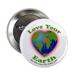 """Love Your Earth Heart 2.25"""" Button"""