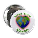 """Love Your Earth Heart 2.25"""" Button (10 pack)"""