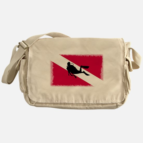 Scuba Diver & Flag Messenger Bag
