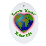 Love Your Earth Heart Ornament (Oval)