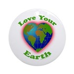 Love Your Earth Heart Ornament (Round)