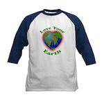 Love Your Earth Heart Kids Baseball Jersey