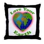 Love Your Earth Heart Throw Pillow
