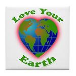 Love Your Earth Heart Tile Coaster