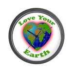 Love Your Earth Heart Wall Clock