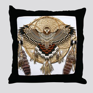 Red-Tail Hawk Dreamcatcher Throw Pillow