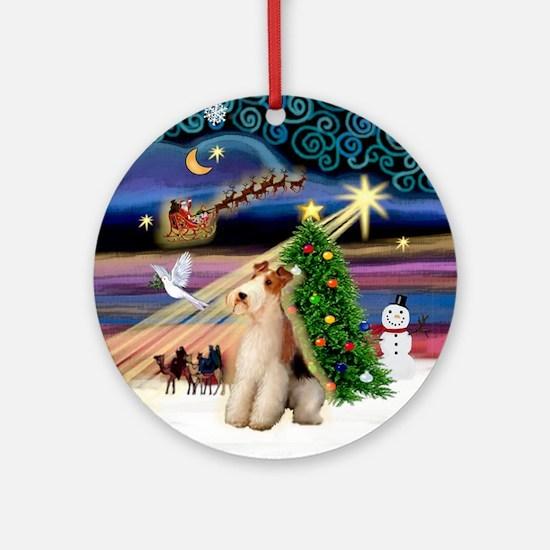 Xmas Magic Fox Terrier (W) Ornament (Round)